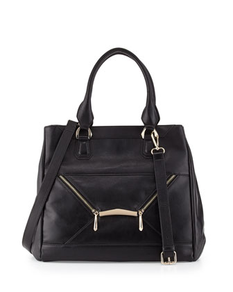 Addie Zipped Envelope Tote Bag, Black