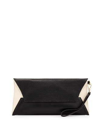 Issa Perforated Leather Clutch Bag, Black/White