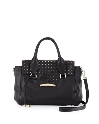 Axelle Studded Flap-Top Satchel Bag, Black