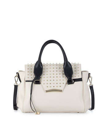 Axelle Studded Flap-Top Satchel Bag, White