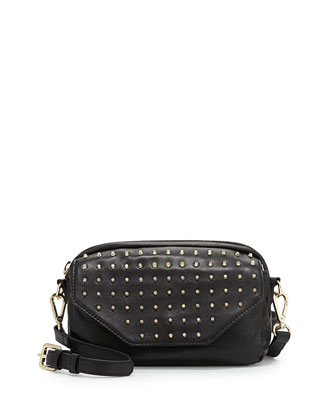 Bagdini Studded Flap-Front Crossbody Bag, Black