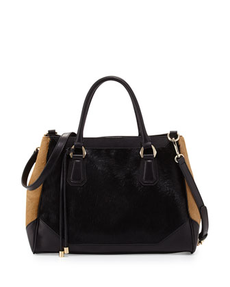 Emilie Colorblocked Calfhair Tote Bag, Black