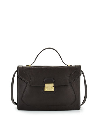 Attache Pebbled Leather Satchel, Black