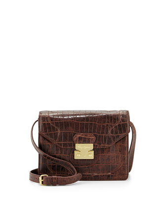 Attache Snake Embossed Leather Cross-Body Satchel, Brownie