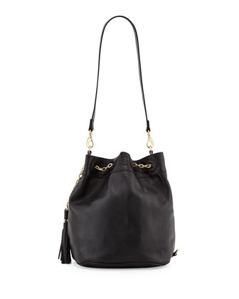 Convertible Sling Drawstring Bucket Bag, Black