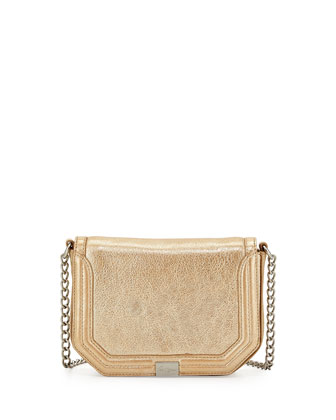 Plated Metallic Leather Cross-Body, Galvanize Gold