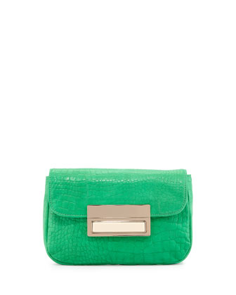 Iris Snake-Skin Embossed Leather Clutch Bag, Kelly