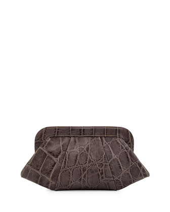 Tatum Hinge Croc-Embossed Calfskin Clutch Bag, Gray