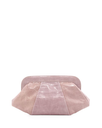 Tatum Hinge Calfskin Clutch Bag, Lilac