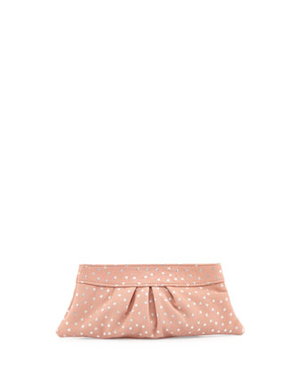 Eve Snap Metallic-Star Lambskin Clutch Bag, Pale Gold