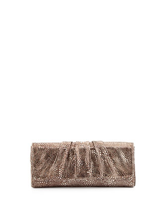 Caroline Metallic Snake-Embossed Clutch Bag, Pewter