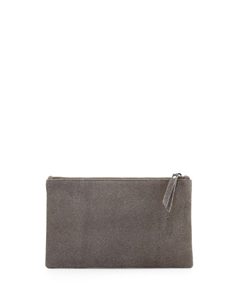 Medium Zip-Top Glass-Beaded Clutch Bag, Dove