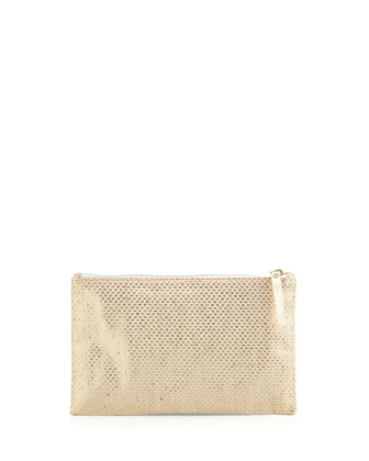 Medium Zip-Top Pearlized Linen Check Clutch Bag, Platinum