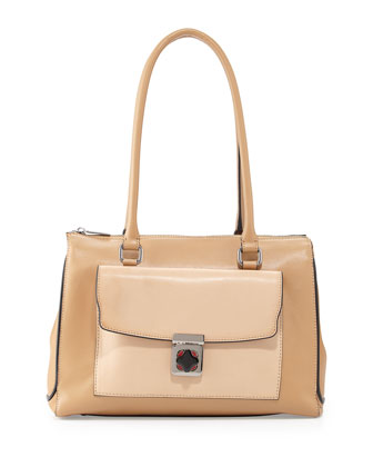 Kacey Mixed-Texture Shoulder Bag, Natural