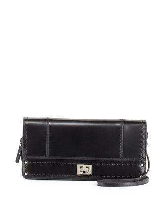 Kadie Turn-Lock Clutch Crossbody Bag, Black