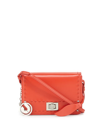 Kaila Turn-Lock Topstitched Shoulder Bag, Red