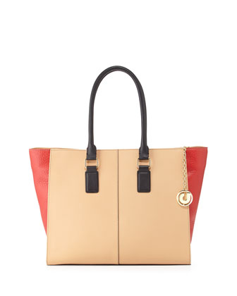 Kameron Three-Tone Colorblock Tote Bag, Natural/Red