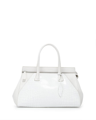 Kaimi Duo Croc-Embossed Leather Satchel Bag, White