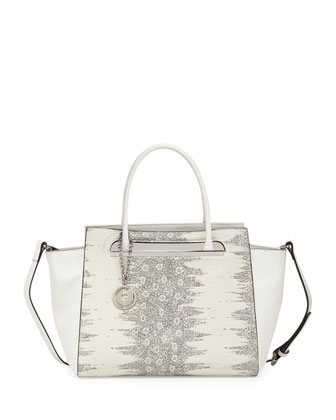 Karis Snake-Embossed Satchel Bag, White