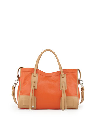 Kaula Two-Tone Pebbled Leather Tote Bag, Orange