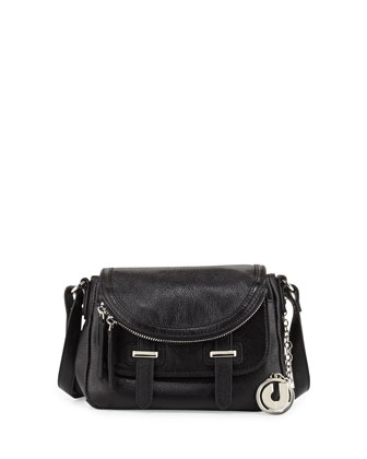 Kelsie Tumbled Leather Saddle Crossbody Bag, Black
