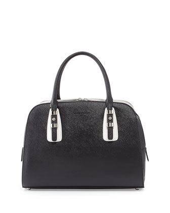 Karida Two-Tone Saffiano Leather Dome Satchel, Black/White