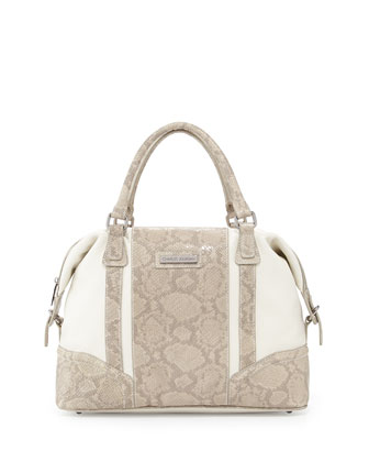 Kavit Two-Tone Snake-Embossed Leather Satchel Bag, Cream Combo