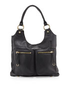 Dylan Front-Pocket Leather Tote Bag, Black