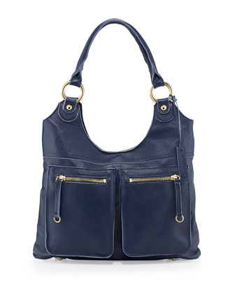 Dylan Front-Pocket Leather Tote Bag, Blue