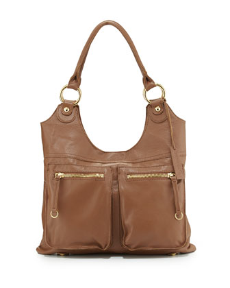 Dylan Front-Pocket Leather Tote Bag, Coffee Bean