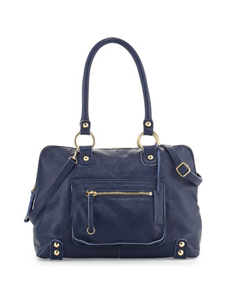 Dylan Front-Pocket Leather Duffle Bag, Blue