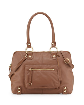 Dylan Front-Pocket Leather Duffle Bag, Coffee Bean