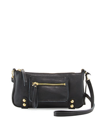 Dylan Zip Leather Crossbody Bag, Black