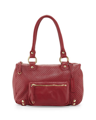 Dylan Perforated Leather Duffle Tote, Red Poppy