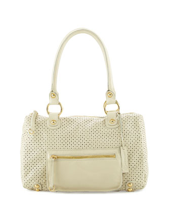 Dylan Perforated Leather Duffle Bag, Bone