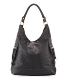 Dylan Perforated Leather Hobo Bag, Black