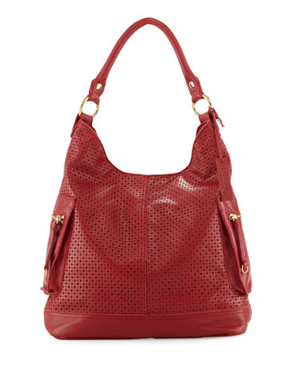 Dylan Perforated Leather Hobo Bag, Poppy