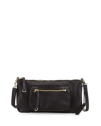 Dylan Perforated Leather Crossbody Bag, Black