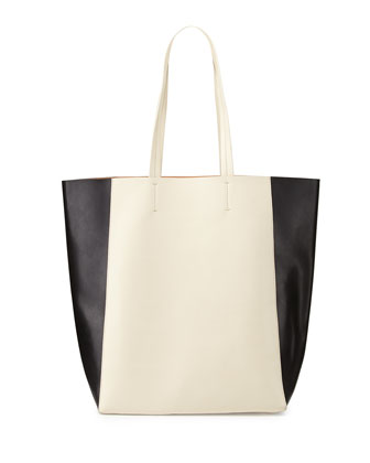 North-South Colorblock Tote Bag, Black/White