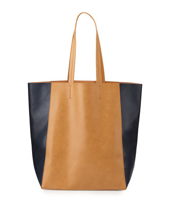 North-South Colorblock Tote Bag, Camel/Navy