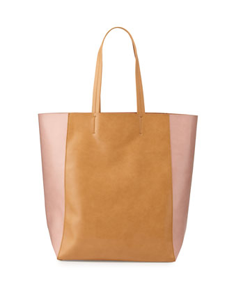 North-South Colorblock Tote Bag, Camel/Pink