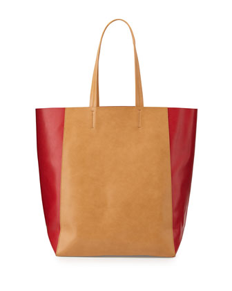 North-South Colorblock Tote Bag, Camel/Cherry