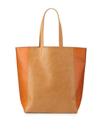 North-South Colorblock Tote Bag, Camel/Orange