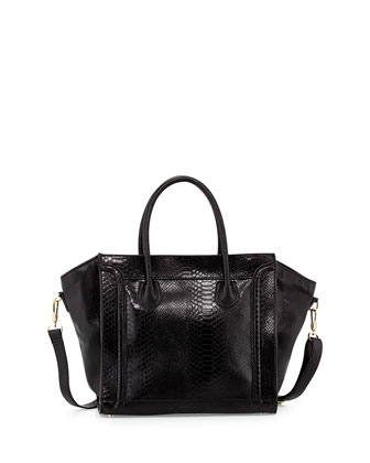 Garner Snake-Print Seamed Faux-Leather Tote, Black