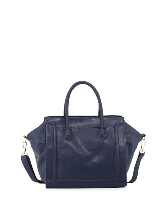 Seamed Square Faux-Leather Tote Bag, Navy