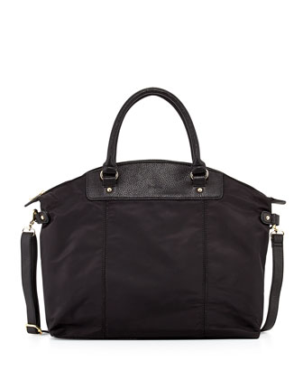 Locklyn Nylon/Faux-Leather Tote Bag, Black