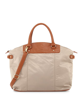 Locklyn Nylon Contrast Tote Bag, Clay