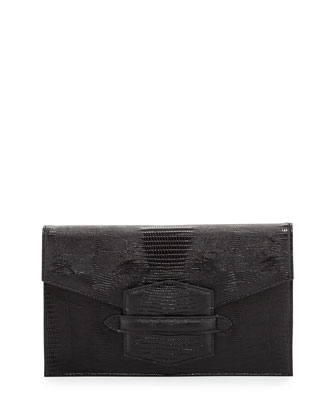 Lovely 2 Lizard-Embossed Envelope Clutch, Black