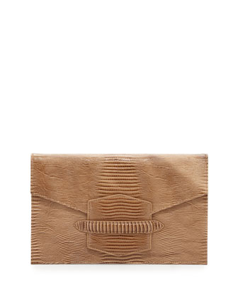 Lovely 2 Lizard-Embossed Envelope Clutch, Natural