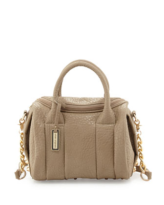 Stevie Faux-Leather Satchel, Taupe